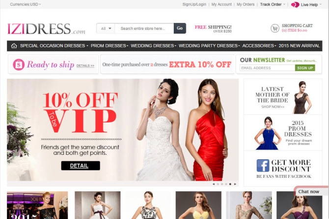 IZIDRESS website