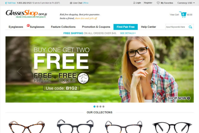 glassesShop website